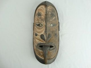 Old Carved Wood Papuan Headhunter Ancestor Gable Mask Sepik River Png photo