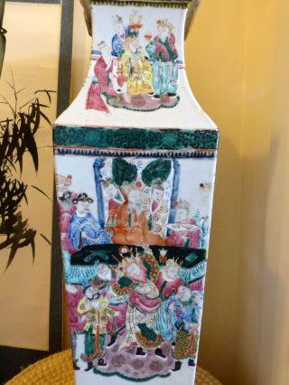 Antique Chinese Huge Famille Rose Enameled Square Baluster Vases Nr 1 photo