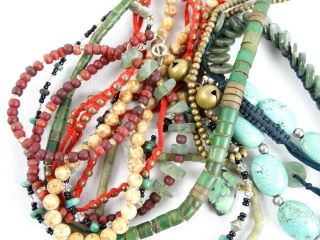 Jewellery - Bulk Womens Vintage Chinese Necklaces & Bracelets Inc Hand Cut photo