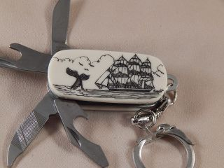 Scrimshaw Resin Multi Tool Key Ring Knife 2 Sided S/ship - Whale Tail - Humpback photo