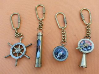 Vintage Retro Solid Brass Telegraph Sand Timer Compass And Ship Wheel Key Chain photo