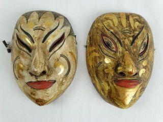Old Javanese Wooden Masks Tupeng Sanskrit Hindu Performance Java photo