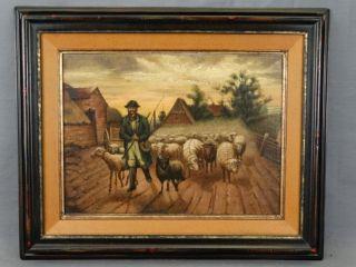 19thc Antique Primitive Folk Art Sheep Herder & Dog Dirt Road Landscape Painting photo