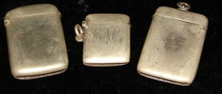 3 English Hallmarked Sterling Silver Vestas 1890 - 1892 - 1900 Goldwash Interiors photo