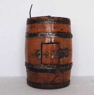 Antique Rare Dutch Wooden Barrel Butter Churn Cast Iron photo