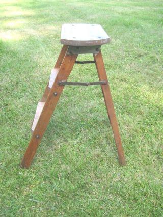 Antique 3 - Step Ladder Vintage Stool Step Stool Primitive Maple Wood photo
