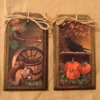 5 Wood Fall Ornaments/autumn Hangtags/ornies Squirrel,  Crow,  Pumpin Set3a Handmade photo