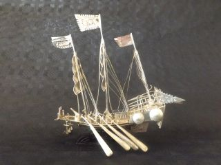 Sailing Ship Desk Model Solid Silver Ship China Export Trade Antique 1890 photo