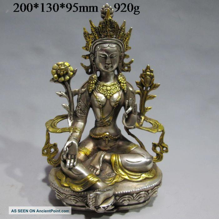 Vintage Tibet Silver Copper Gilt Tibetan Buddhism Statue - - - Green Tara Buddha Buddha photo