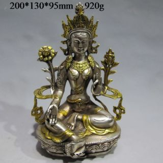 Vintage Tibet Silver Copper Gilt Tibetan Buddhism Statue - - - Green Tara Buddha photo