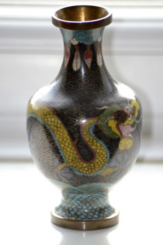 Antique Cloisonne Vase Japanese Chinese Oriental Dragon photo