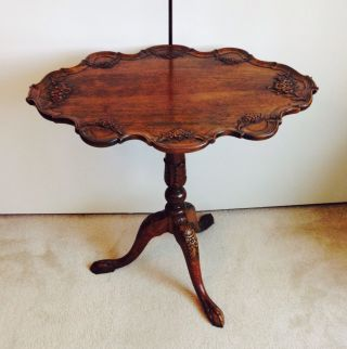 Antique English Folding Carved Oak Pedestal Coffee Table photo