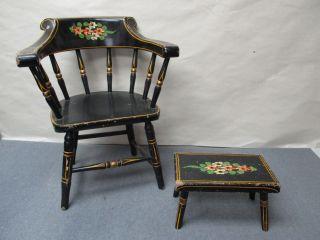 Circa 1962 J.  S Ebersol Intercourse Pennsylvania Dutch Amish Mini Chair & Stool photo