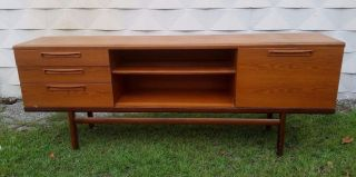Mid - Century Modern Teak Sideboard Credenza Lg Flat Screen Tv Stand Console photo