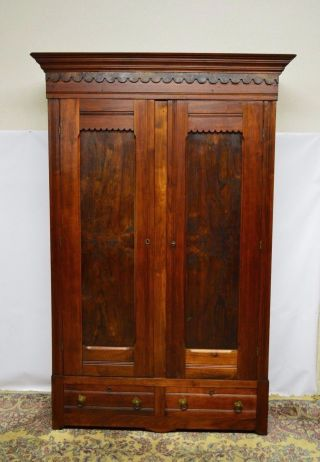 Antique 1800 ' S Victorian Walnut Armoire Wardrobe Closet photo