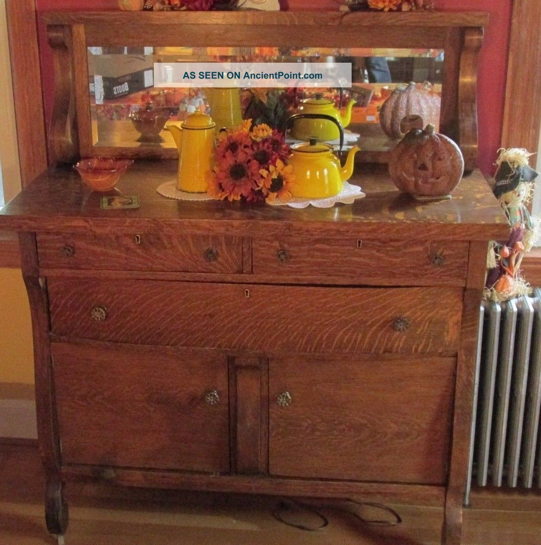 Buffet Server Sideboard Vintage Oak Tiger Wood Beveled Mirror Large 57x22x48 Post-1950 photo