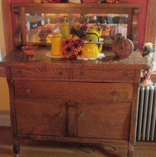 Buffet Server Sideboard Vintage Oak Tiger Wood Beveled Mirror Large 57x22x48 photo