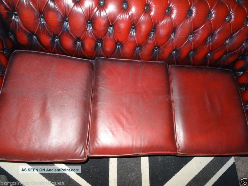 Vintage Luxury Leather Chesterfield 3 Seater Living Room Sofa In ...