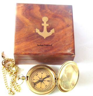Antique Nautical Brass Compass - Vintage Push Button Compass With Wooden Box photo