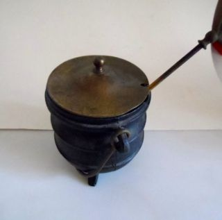 Vintage Cast Iron Brass Cape Cod Fireplace - Fire Starter & Wand Honey Pot photo