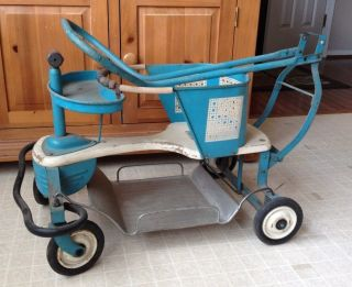 Vintage Pal Baby Toddler Stroller Walker Metal Wood Blue Ivory W/handle photo