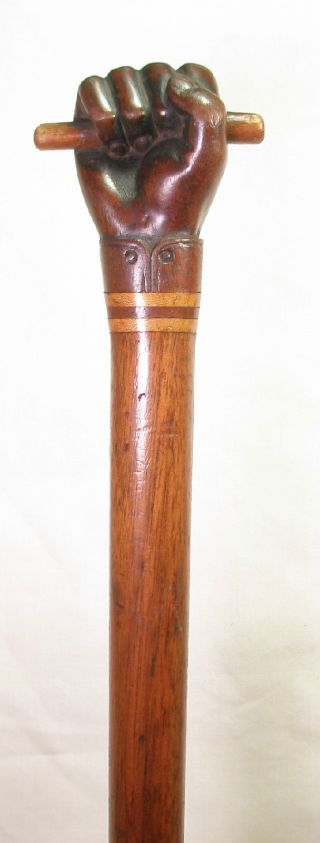 Antique Nautical Carved Wood Fist W/baton Folk Art Cane - Inlaid Shaft - Greatdetail photo