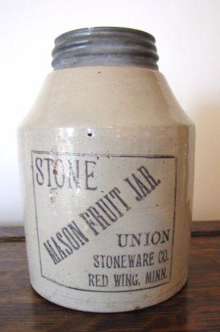 Vtg Stone Mason Fruit Jar Union Stoneware Co.  Red Wing Zinc Cap Pat.  Jan 1899 photo