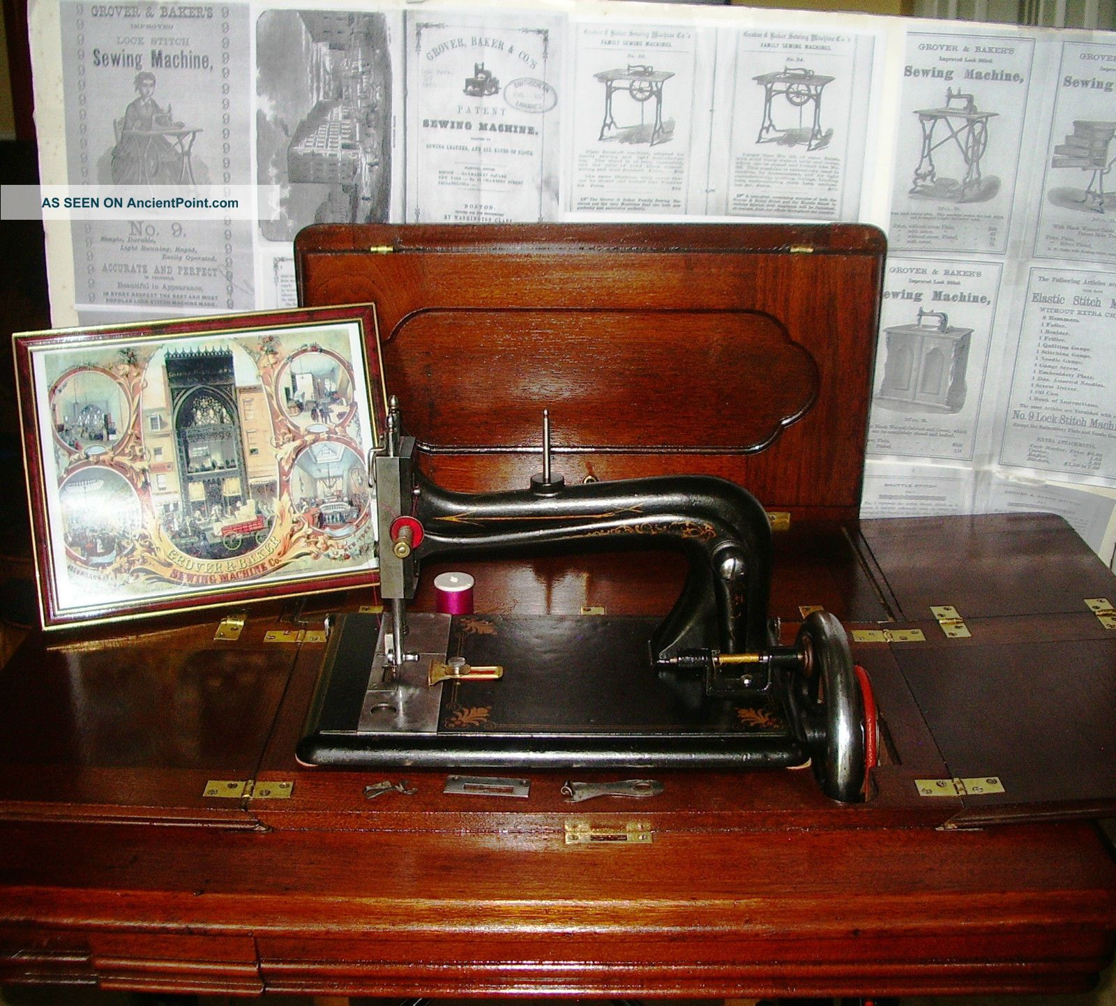 Exquisite Grover&baker C 1870 9 Functional Antique Sewing Machine,  Unfolding Cab Sewing Machines photo