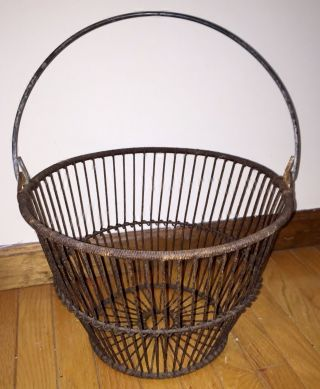 Vintage Authentic England Cape Cod Steel Wire Clam Quahog Basket photo