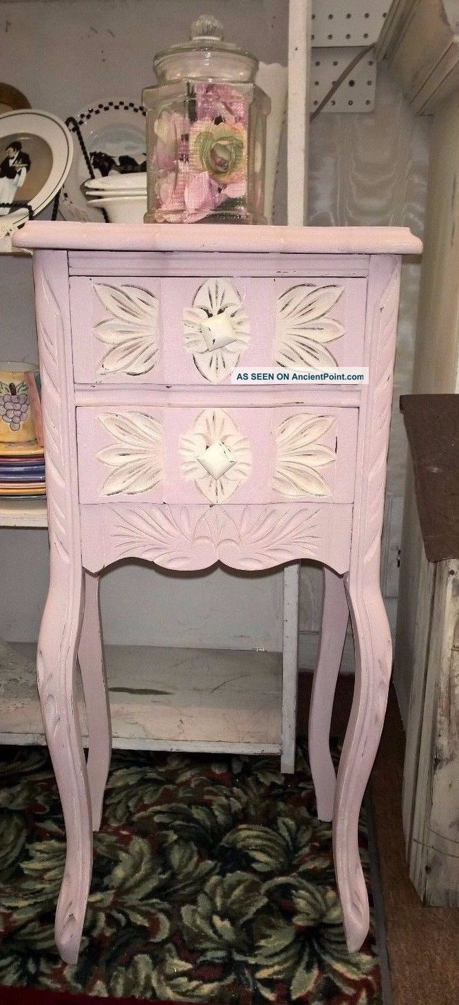 Vintage Country French Pink Nightstand Accent Entry Way
