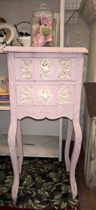 Vintage Country French Pink Nightstand Accent Entry Way - Annie Sloan Chalk Paint photo