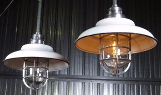 Vintage Killark Industrial Pendant Light Nos Porcelain Shade,  Cage,  Glass,  Barn photo