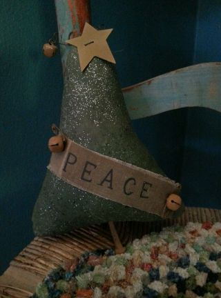 Primitive Christmas Peace Tree Star Rusty Bells And Nails Ornament Bowl Fillers photo