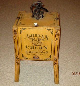 Antique Wooden Stencil - American Butter Churn - Bluffton,  Indiana - Org Mustard Paint photo
