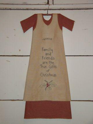 Primitive Doll Dress - Christmas - Folkart Handmade Stitchery Home Decor photo