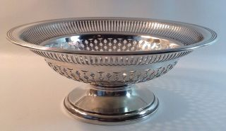 Sterling Silver Round Centerpiece Bowl On Pedestal - Gorham - Pierced Design photo