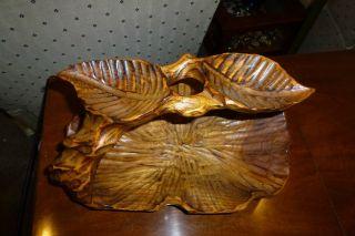 Vintage Folk Art Hand Carved Wooden Bowl Handled Basket photo