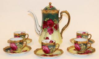 O.  &e.  G Royal Austria Coffee/tea Service Rose Dubarry Handpainted Signed Martin photo