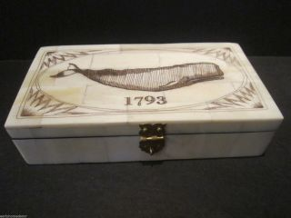 Antique Style Folk Art Whale Scrimshaw Bone & Wood Trinket Box 1793 photo