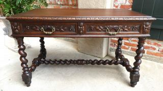 Large Antique French Carved Oak Barley Twist Writing Desk Table Renaissance photo