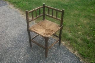 Antique Vintage French Dark Twisted Wood Corner Chair Rush Seat photo