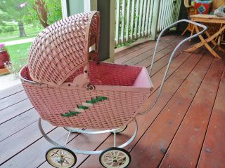 Antique Wicker Baby Doll Buggy Pink - Wood,  Metal,  & Wicker - South Bend Toys photo