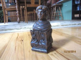 Oak Carved Bust Furniture Finial Figural Victorian Cabinet Top Newel Post Cap photo