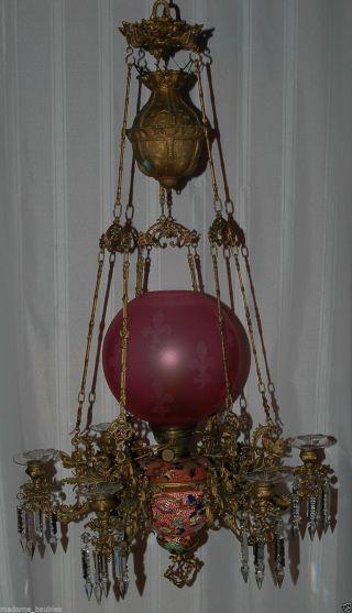 Kosmos Brenner Antique Victorian Majolica Oil Kerosene Hanging Lamp Chandelier photo