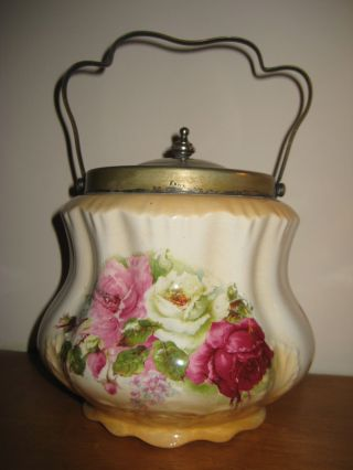 Antique Bridgwood England Biscuit Jar - English Roses - Nickel Silver Lid & Handle photo