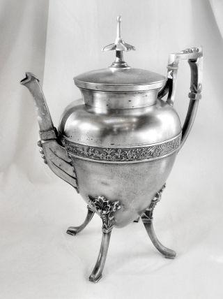 A Rare Beauty Atq Circa 1847 Meriden Co 1104 Slv Plate Footed Coffee Pot Tea photo