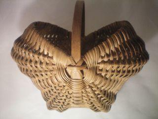 Rare American Antique Primitive Splint Buttocks Basket Early 1900 ' S Ec Unusual photo