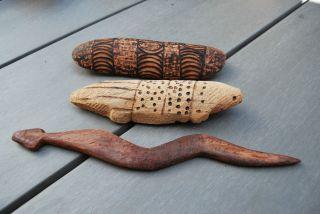 3 Old Pitjantjatjara Aboriginal Animal Carvings Early Made For Trade Handicrafts photo