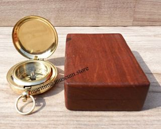 Handmade Brass Push Button Direction Pocket Compass With Wooden Box. photo