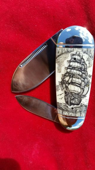 Double Sided Hand Etched Nautical Scrimshaw Art By Shar,  2 Blade Folding Knife photo